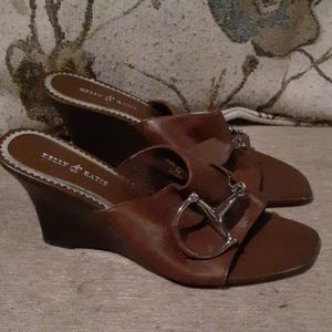 Kelly & Katie Brown Leather Gambit Wedges 9